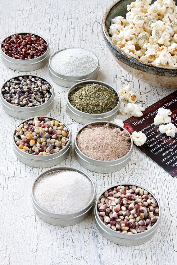A new sampler line of gourmet colored popcorn kernels and popcorn toppings at Dell Cove Spice Co.