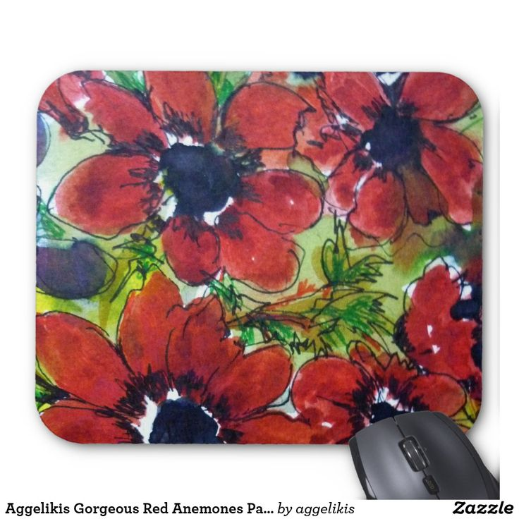 Aggelikis Gorgeous Red Anemones Pattern Mouse Pad