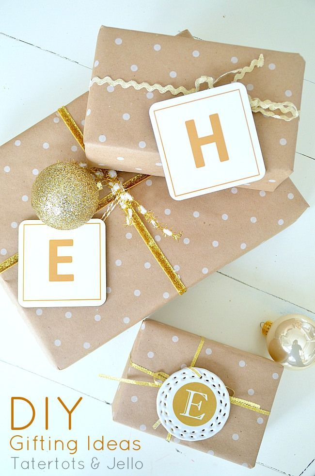 Make Coaster & Ornament Initial Gift Tags with Free Printables -- Tatertots and Jello #DIY #giftideas #Christmas
