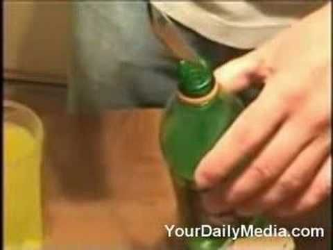 how to make a simple homemade glow stick from a bottle of mountain dew... great fun for camping or the backyard!