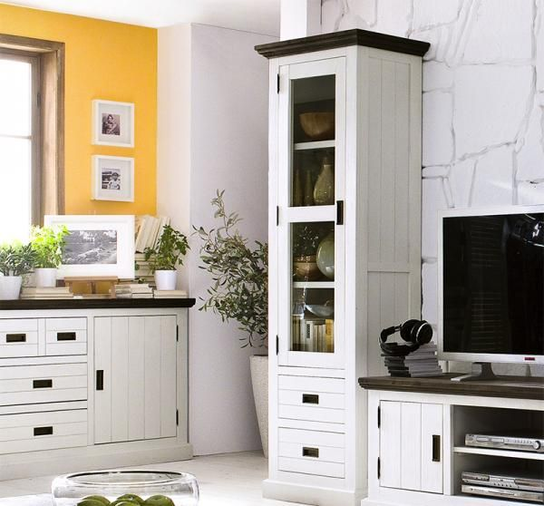 Contemporary white lacquered acacia wood tall cabinet for Acacia wood kitchen cabinets