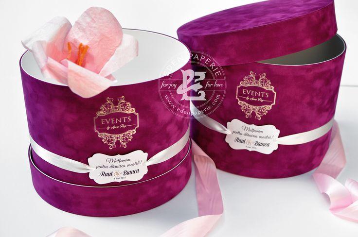 fuchsia suede flower box gold foil logo