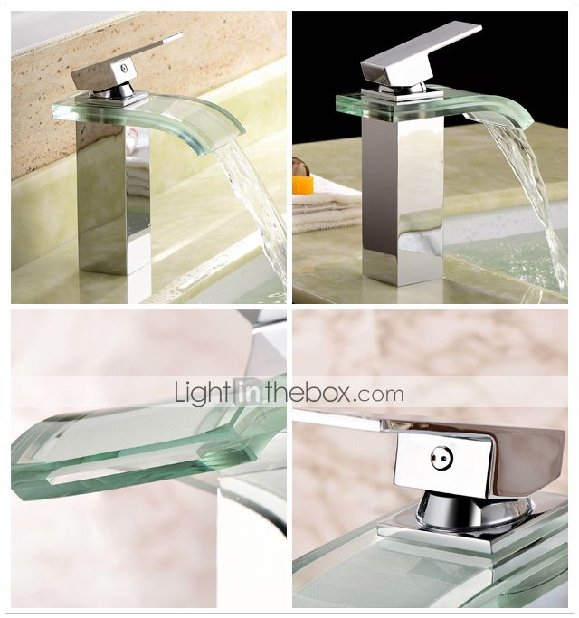 moderno cuarto de baño cascada grifo del fregadero con caño de vidrio (acabado en cromo) - EUR € 87.25