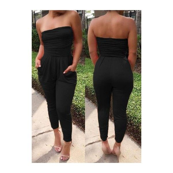 Black Pocket Design Open Back Strapless Jumpsuit ($24) ❤ liked on Polyvore featuring jumpsuits, black, open back jumpsuit, jump suit, strapless jumpsuit, patterned jumpsuit and sleeveless jumpsuit