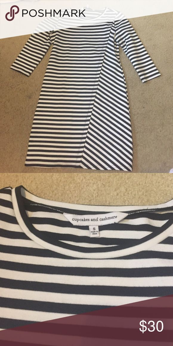 Cupcakes and Cashmere Striped Mini Dress Stretchy mono dress with black and white stripes. Looks amazing with sneakers and a denim jacket! Worn once cupcakes & cashmere Dresses Mini