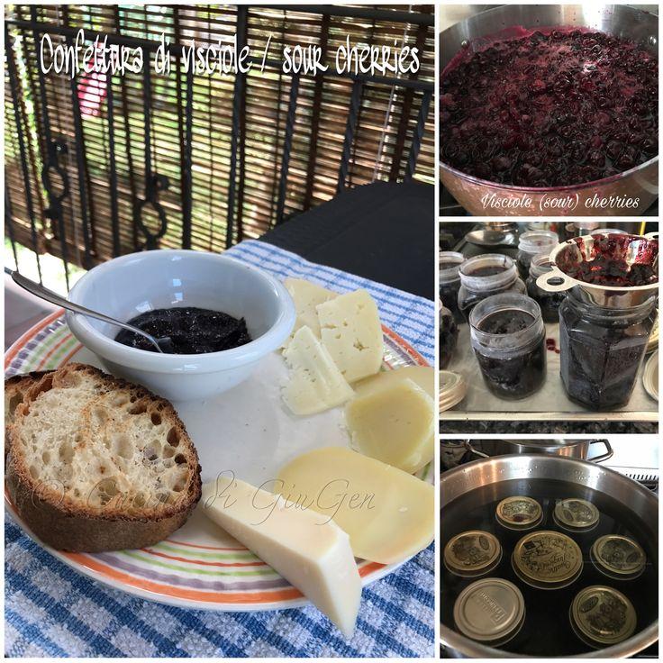 Wip: confettura di visciole  Visciole (sour) cherry jam  Ottima sul pane oppure servita con formaggi come aperitivo.   Nella foto formaggi misti:  Asiago, Tenero val d'Orcia, Provola Siliana  e Provolone piccante