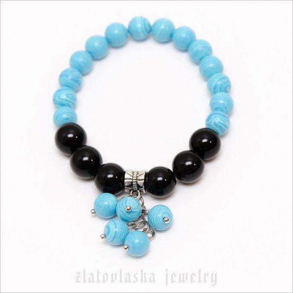 Blue & Black Bunch Bracelet by ZlatovlaskaJewelry on Etsy