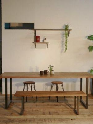画像5: ≪テーブル≫【鉄脚ダイニングテーブル 無垢 オーク/1600×850ラフ仕上げ】