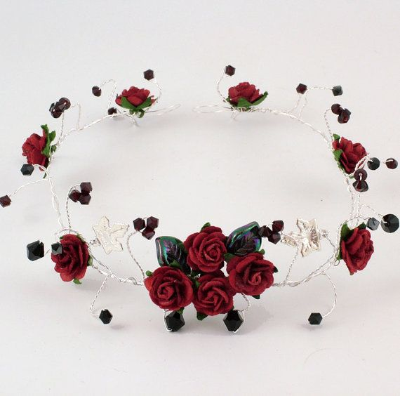 Goth tiara, garnet red and black Swarovski crystals, roses and silver leaves