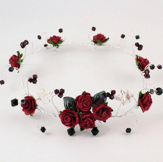 Rote rose schwarz Kristall Hochzeit Haar von KalsReturnJewellery