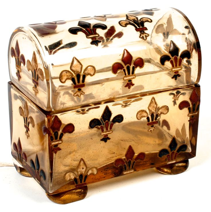 Galle Casket: A miniature glass box by the French glass maker Emile Galle, enamelled with fleur de lys.