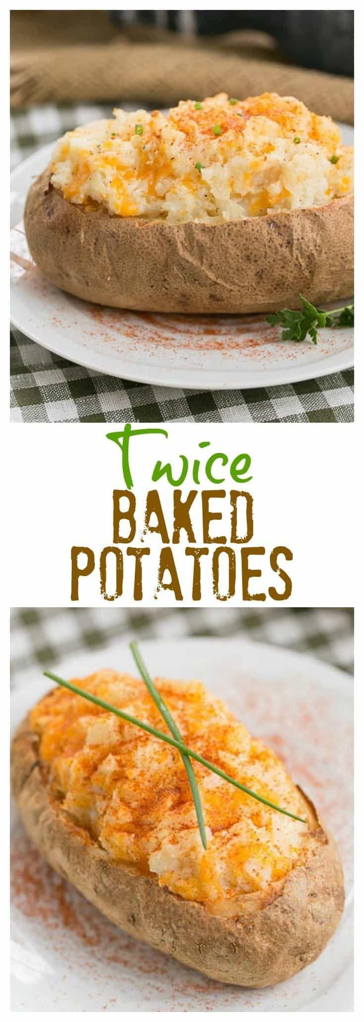 Twice Baked Potatoes | a no-brainer recipe that pushes baked potatoes over the top #potatoes #bakedpotato #sidedish #cheesy