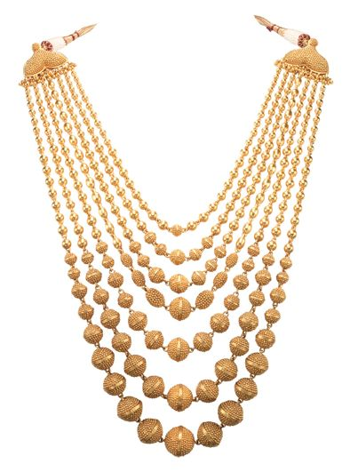 Seven row beaded gold necklace from the World Gold Council's 'Tarun Tahiliani for Azva' collection.