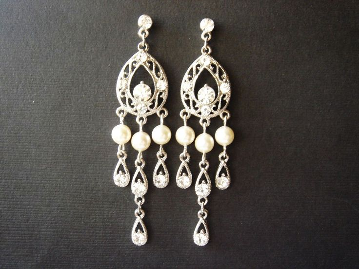 Madilyn Great Gatsby Inspired Pearls and Lace Bridal Earrings