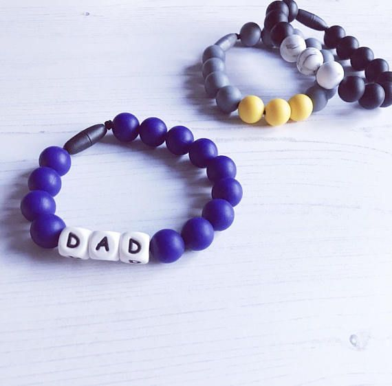 Fathers Day Gift, Gift for Dad, Mens teething bracelet, personalised silicone teether, jewellery for men