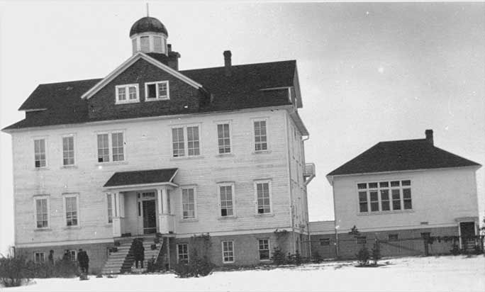 St. Barnabas School — Sarcee Reserve, Alberta: In 1888, the CMS and Archdeacon Tims recruited the Rev. Harry W.G. Stocken to run the St. Barnabas Mission, which was situated on the eastern edge of the Sarcee Reserve at Lower Camp, near the Indian Agency. Four years later he opened the Sarcee Boys' Boarding School with about six students in residence, a number that doubled the following year.