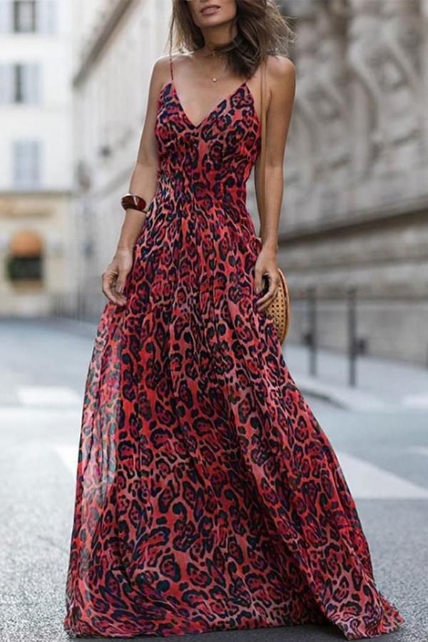 b33fd38c559a7 Sexy Red Sleeveless Leopard Print Maxi Dress in 2019 | Vacation ...