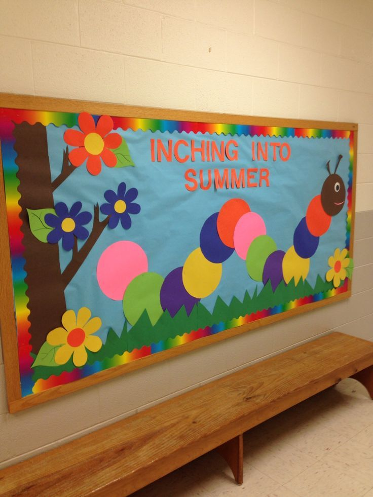 """Inching into Summer!"" An easy and cheerful bulletin board for springtime!"