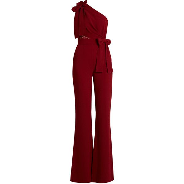 Elie Saab One-shoulder lace-panel flared jumpsuit (£2,170) ❤ liked on Polyvore featuring jumpsuits, elie saab, red, red jumpsuit, red jump suit, elie saab jumpsuit, one shoulder jumpsuit and jump suit