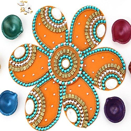 Diwali Lights Online Shop: Orange Acrylic Rangoli With Diyas And Kaju Katli