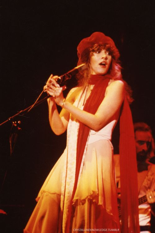 Stevie onstage  ~ ☆♥❤♥☆ ~   with John McVie behind her; photo taken during Fleetwood Mac's 1979 'Tusk' tour; Stevie is performing 'Angel' here with the other members of Fleetwood Mac, Lindz in particular   ~   https://youtu.be/Pyt250qx9uA  ~  http://www.fleetwoodmac.net/penguin/interpretations/a/angel.htm