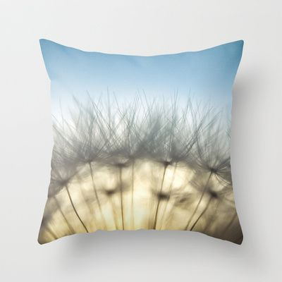 Dandelion & Sun I. (color) Throw Pillow by Martin Misik - $20.00  // #pillow #print #art #society6 #dandelion #sunset #prague #macro #flower #blue #yellow #fluff #seed #flying #calm #quiet #still #relaxation #meditation #evening #globe