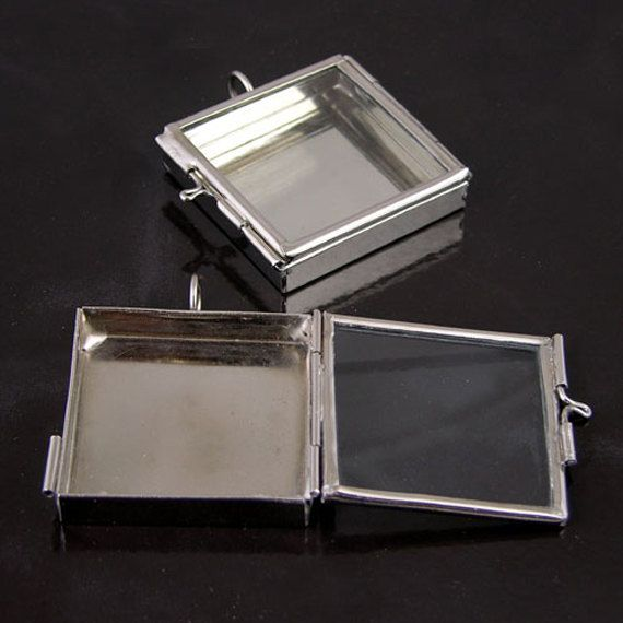 Square Shadow Box Pendant W/hinged Glass Door, Silver, Pendants 38 Mm  Square X 6 Mm Deep These Shadow Boxes Are Made Entirely By Hand So