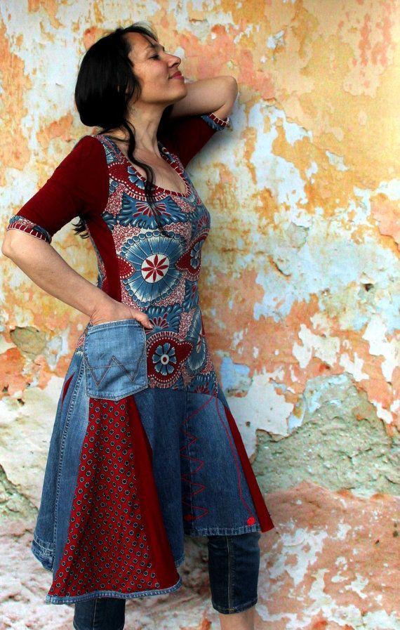 Denim jeans recycled dress tunic hippie boho style by jamfashion