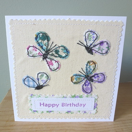 Applique Butterfly Birthday textile card