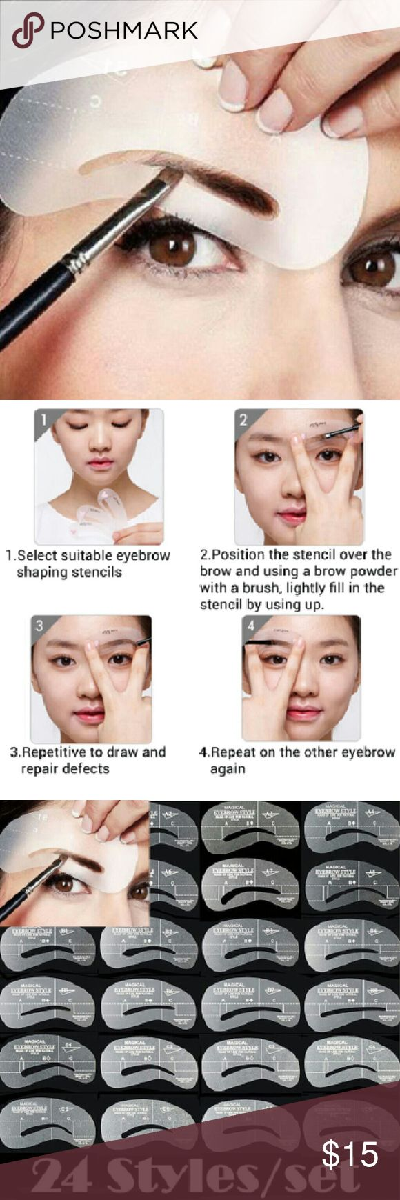 24 Eyebrow Stencil Template Makeup Beauty Tool 24 different Stencil:  (6 Different sets, Every set includes 4 different Stencils)  Material: Resin, ABS Material Size: 10x5 cm Main?Color: Clear  Package Includes: 6 Sets of Eyebrow Stencils (24 Styles Included) Makeup Brushes & Tools