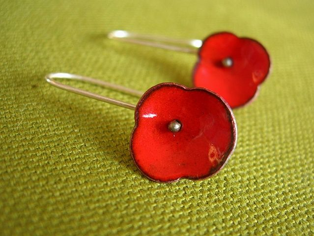 poppy earrings enamel copper silver  by Janice Ho