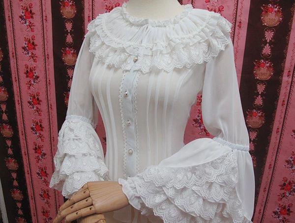 LOLITA洋装2015新款姬袖衬衣复古公主风木耳边衬衫修身蕾丝雪纺衫