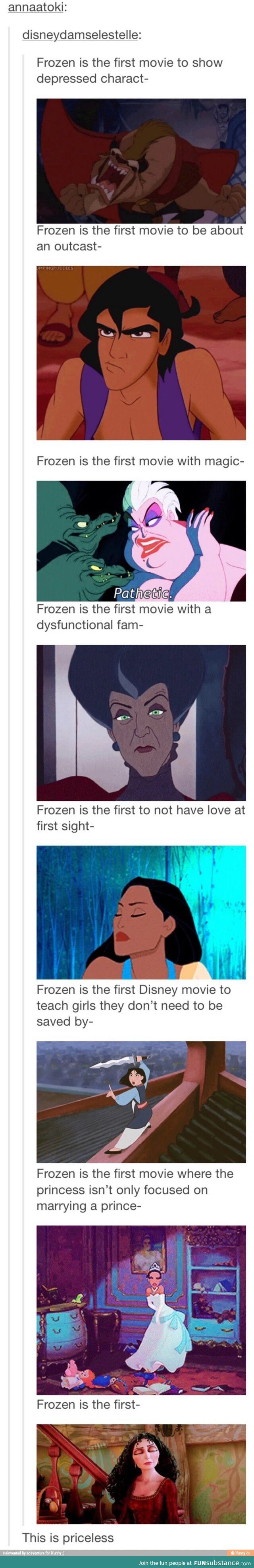 "Frozen was not the first anything <<<< ""frozen was the first movie about sister love -- LILO AND STITCH"