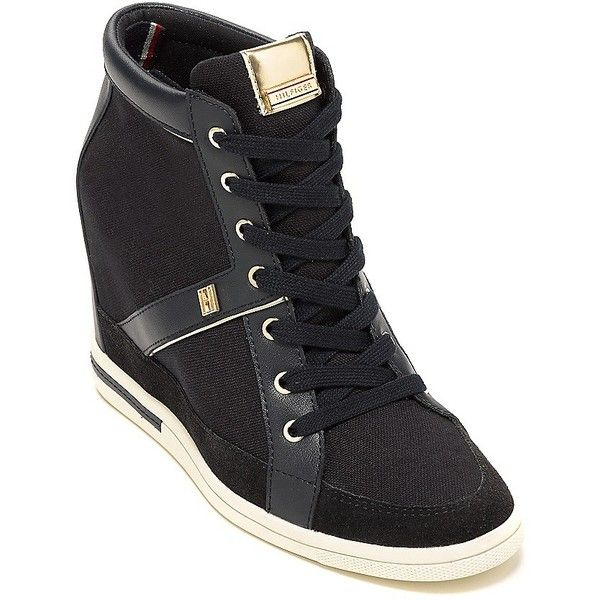 Tommy Hilfiger Canvas Sneaker Wedge ($130) ❤ liked on Polyvore featuring shoes, sneakers, tommy hilfiger shoes, sports trainer, platform wedge sneakers, leather platform sneakers and wedges shoes