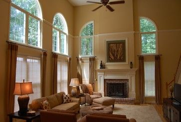 Curtains In Two Story Space Living Room Pinterest