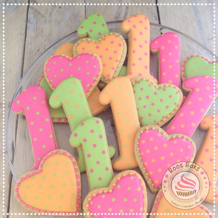 1st Birthday cookies Koekjes voor bij een eerste verjaardag.