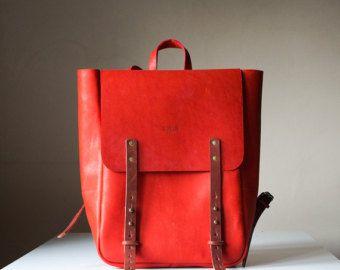 RED Backpack & Messenger Leather bag / RED от MadamEliseeva