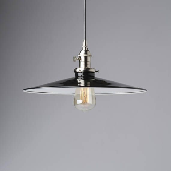10 Industrial Pendant Light Fixture With White Flat Metal Shade