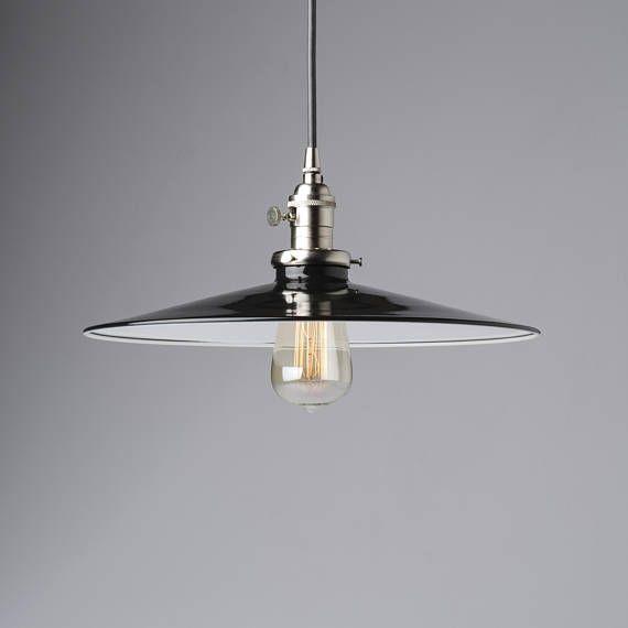 14 Flat Black Pendant Light Fixture Metal Porcelain Enamel