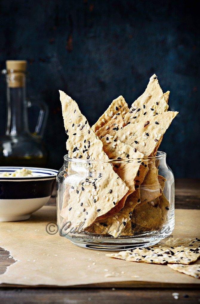 How healthy crisp these crackers are! one of the easiest middle eastern baked crackers/lavash.  Full recipe