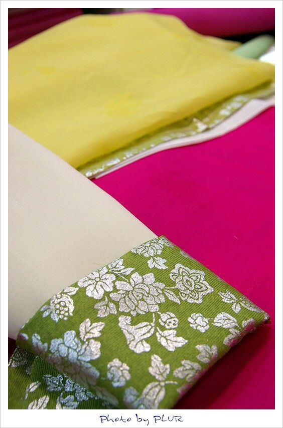 Some materials and  for tradional formal dress(Hanbok, 한복) for a bride of Korea. That is one of combination. Hanbok has so many color and stylings as many as western formal dress.