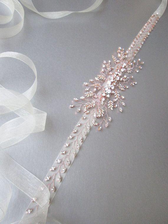 Rose oro cinturón de cristal de Swarovski por SabinaKWdesign