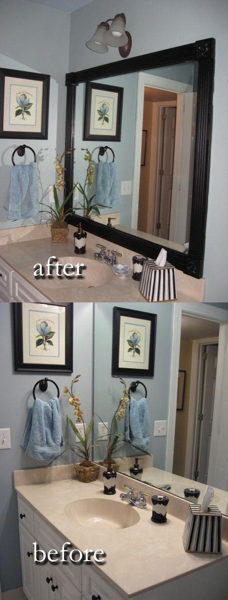 winnerdogfinds diy updated bathroom mirror wood border remodeling - Remodel Bathroom Diy