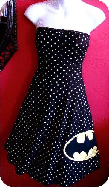 $70.00 / Na Na Na Na Na BATMAN Polka Dot Strapless Dress - on ETSY!
