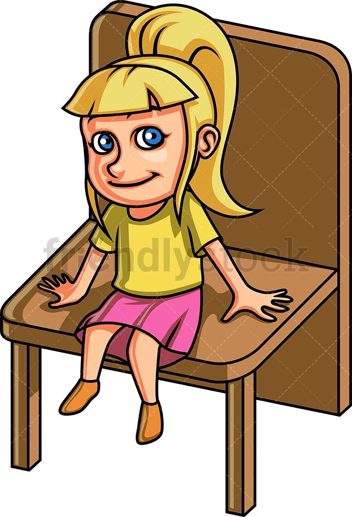 Little Girl Sitting On A Chair Cartoon Clipart Vector Friendlystock Cartoon Clip Art Cartoon Kids Vector