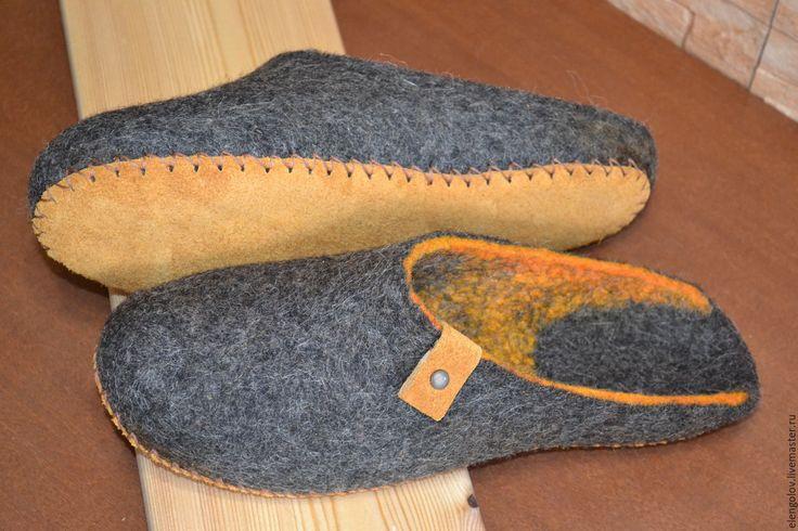Купить Валяные тапочки мужские - Валяние, обувь ручной работы, валяные тапочки, валяная обувь