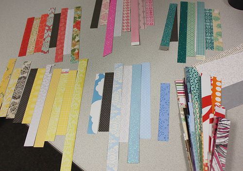 """Use up your paper scraps - a tutorial by Susan Opel; includes good tips of how to make the cards a """"set"""", i.e. using one consistent pattern in same spot on card, coordinating ribbon and sentiment shape."""
