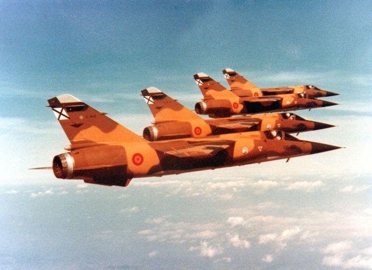 A flight of 4 Spanish Air Force Dassault Mirage F1s