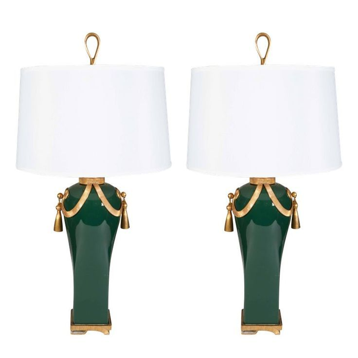 Pair Of 1940s Hollywood Regency Brass And Ceramic Table Lamp Hollywood Regency Decor Hollywood Regency Hollywood Regency Style