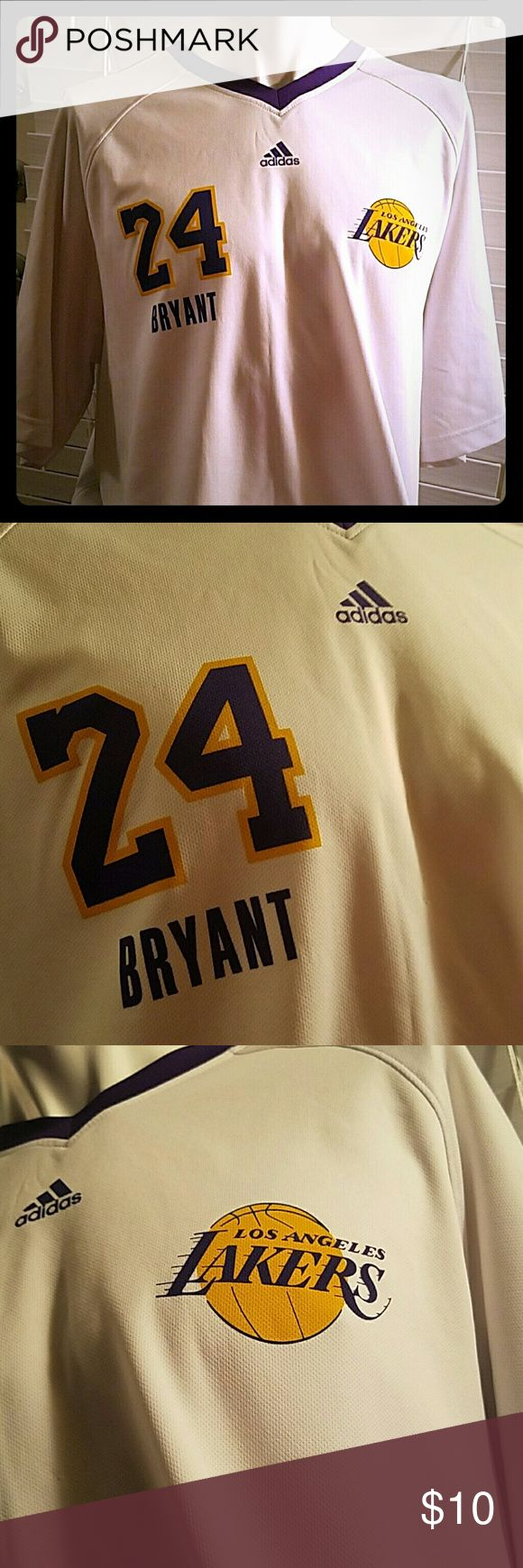 Kobe Bryant Lakers Jersey T White, purple, yellow Kobe Bryan Lakers Jersy T shiet. Gently worn. Snall snag on front, barely noticeable. Still an amazing shirt, with lots of life left adidas Tops